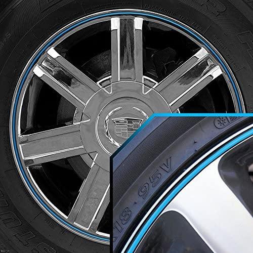 Upgrade Your Auto Wheel Bands Sky Blue in Black Pinstripe Trim for Cadillac Escalade 13-22