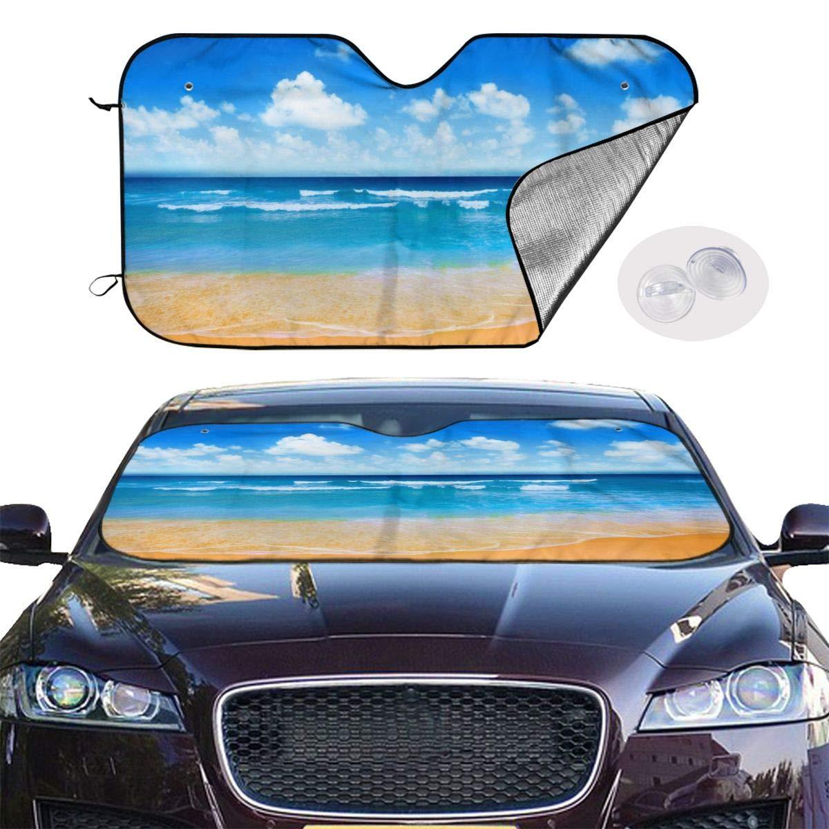 Beach,Blue Sea Sky Car Sunshade Window Windscreen Cover,Automotive Window Protector Sunshade Uv Sun and Heat Reflector for Car Truck SUV,Keep Your Vehicle Cool and Damage Free