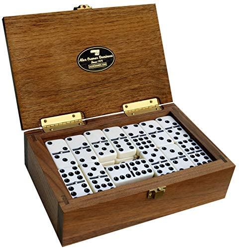 Alex Cramer Double-9 Spinner Domino Set in Black Walnut Case- Special Introductory Price - Holds 55-Piece Set of Dominoes (Domino Set)