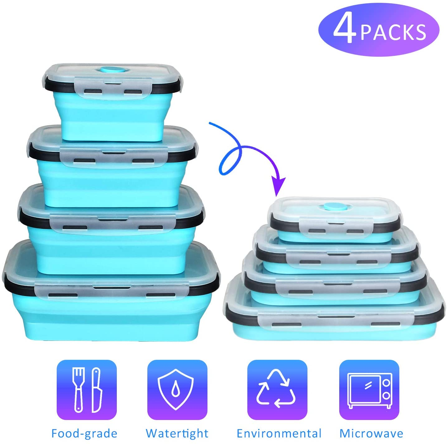 Silicone Collapsible Food Storage Containers,CREPOW Set of 4 Silicone Lunch box Containers for Kids or Kitchen, BPA Free, Microwave, Dishwasher and Freezer Safe (Blue)
