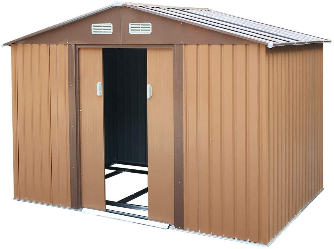 Large Capacity Steel Metal Storage Shed High Gable, for Utility Tool Storage, Gable Roof, Coffee,6.3' x 9.1'