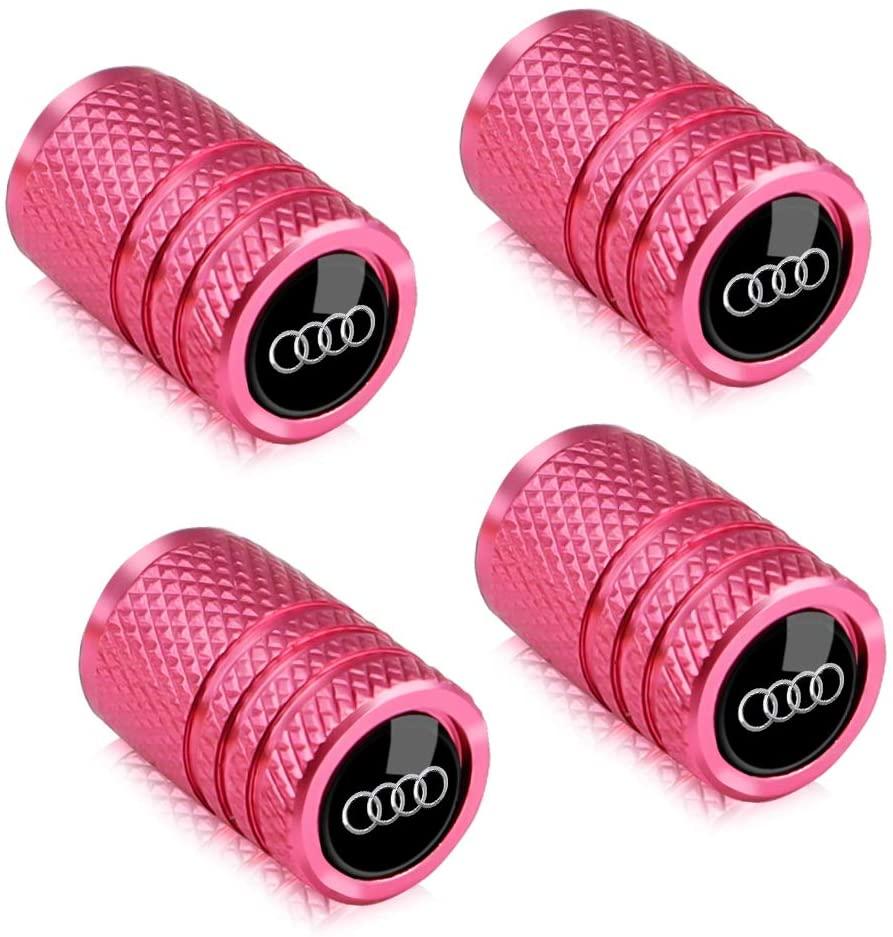 Baoxijie for Audi Valve Stem Caps Pink 4Pcs Metal Car Wheel Tire Valve Stem Caps Suit for Audi S Line S3 S4 S5 S6 S7 S8 A1 A3 RS3 A4 A5 A6 A7 RS7 A8 Q3 Q5 Q7 R8 Valve Caps
