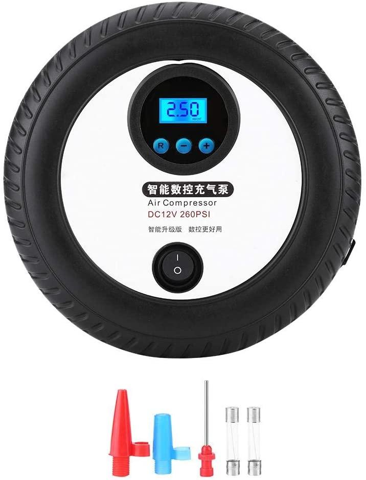 Ejoyous Air Compressor Tire Inflator, 12V Portable Digital Auto Tire Inflator Air Pump 260PSI W/Air Pressure Gauge for Car Tires Trucks Boat Bicycles and Balls
