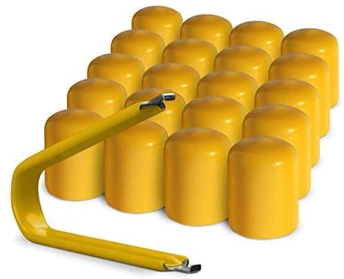 ColorLugs Vinyl LugCap Lug Nut Cover Yellow | Flexible Fit Lug Nut Cap | Fits 21-23mm Wide x 1 Inch deep | Pack of 20 & Deluxe Extractor | Available in a Variety of Colors and Sizes | Made in The USA