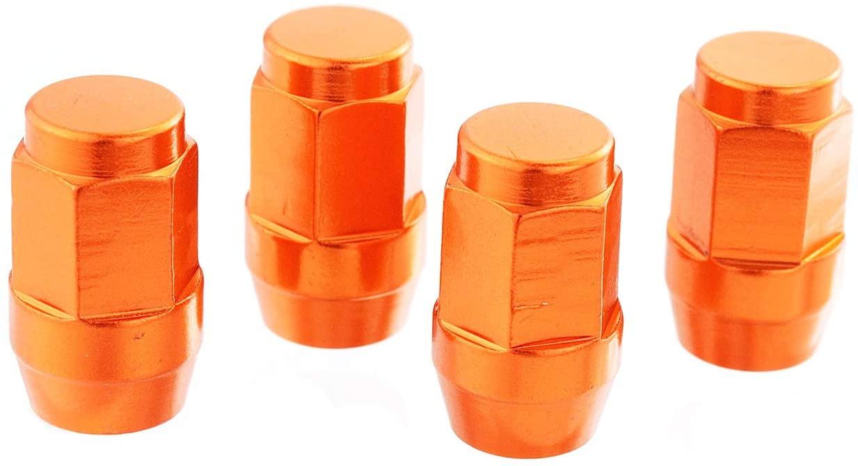 Lunsom Tire Valve Stem Caps Car Wheels Valves Hole Cover Accessories Fit Most Vehicle Motorcycle (4PCs Orange)
