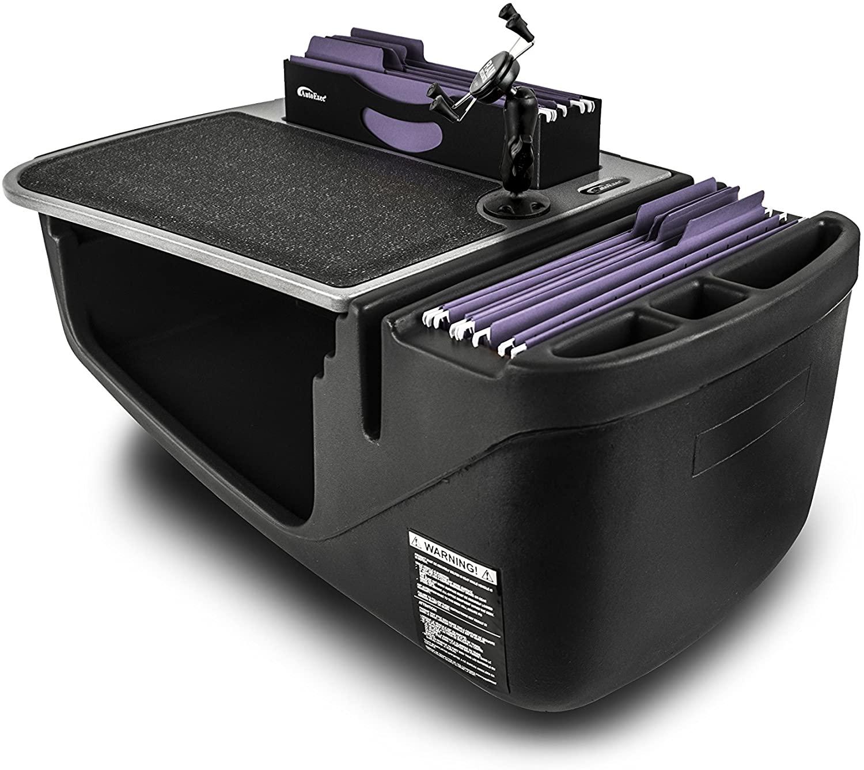 AutoExec AUE20006 Efficiency FileMaster Car Desk Grey Finish with Built-in 200 Watt Power Inverter and Phone Mount
