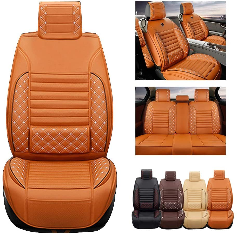 ytbmhhuoupx for Dodge Dart 5-Seats Car Seat Covers PU Leather Waterproof Seats Cushion fit All Season - Full Set Standard Edition Orange