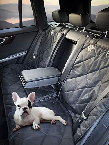 FETCHPLANET Dog Seat Cover Back Seat- Dogs Car Seat Covers- Waterproof Pet Bench Seat Covers - Nonslip and Armrest Compatible fits Most Cars, Compact SUVs