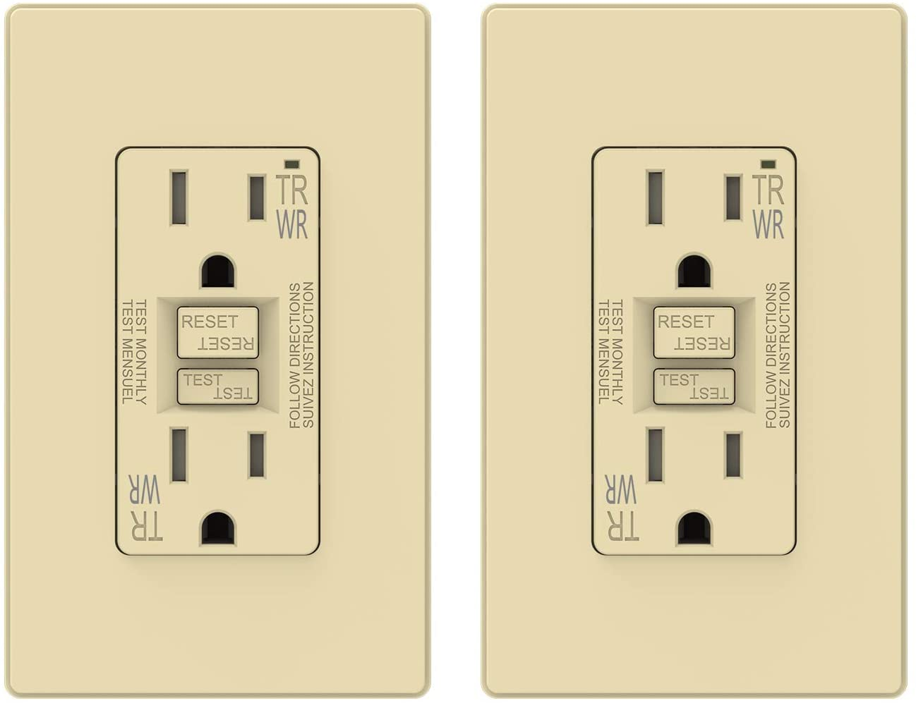 Matte Ivory ELEGRP 15 Amp GFCI Outlet, 5-15R GFI Dual Receptacle, TR Tamper Resistant and WR Weather Resistant, Self-Test Ground Fault Circuit Interrupters, Wall Plate Included, UL Listed (2 Pack)