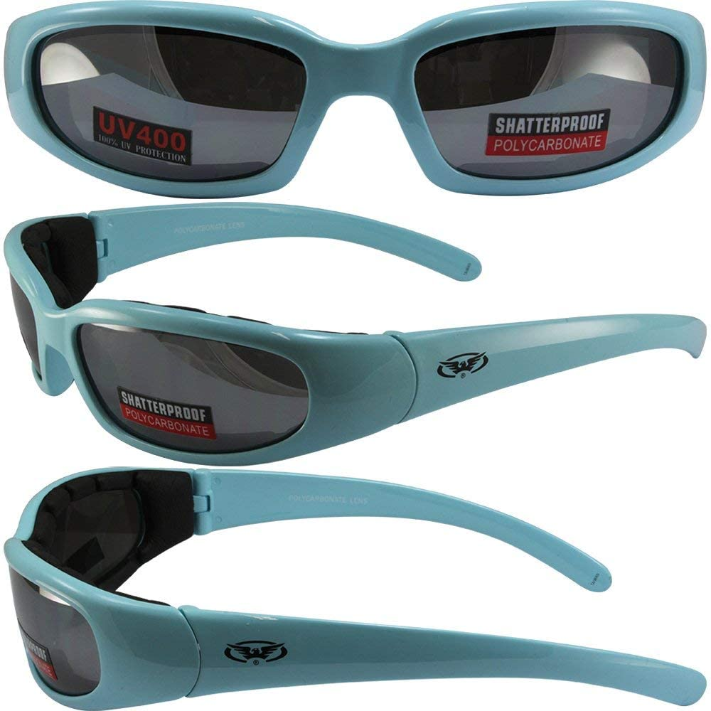Global Vision Chicago 3 Padded Motorcycle Sunglasses Pastel Blue Frames Flash Mirror Lenses