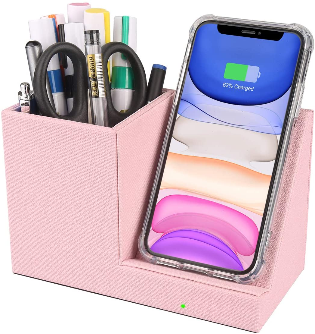10W Fast Wireless Charger Desk Stand Organizer,Pen Pencil Holder,Wireless Charging Station for iPhone 11/Xs MAX/XR/XS/X/8/8, Samsung S10/S9/S9+/S8/S8+/Note 10,Pink Desk Storage Caddy(No AC Adapter)