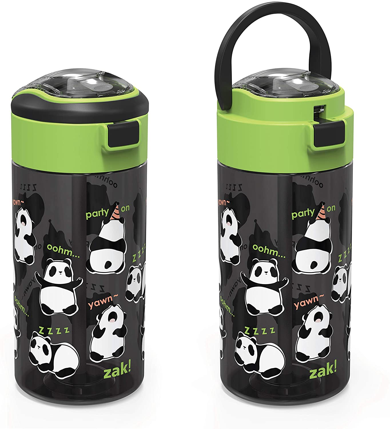 Zak Designs Genesis Durable Plastic Water Bottle with Interchangeable Lid and Built-In Carry Handle, Leak-Proof Design is Perfect for Outdoor Sports (18oz, Panda, BPA Free)