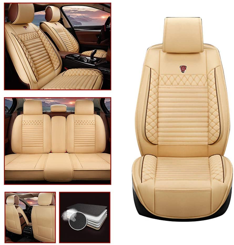 Leather Car Seat Covers For Infiniti Q50 Hybrid Leatherette Automotive Vehicle Ultra Comfort Cushion Cover for SEAT Of Driving/Co-pilot/Second Row 5-SEAT Beige