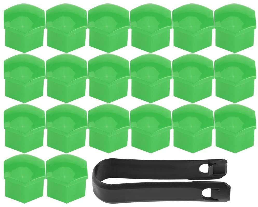 Gorgeri Lug Nut Covers, 20 Pcs Universal Wheel Tyre Hub Covers Lug Nut Covers Nut Protector Cap with Black Clamp(Green)