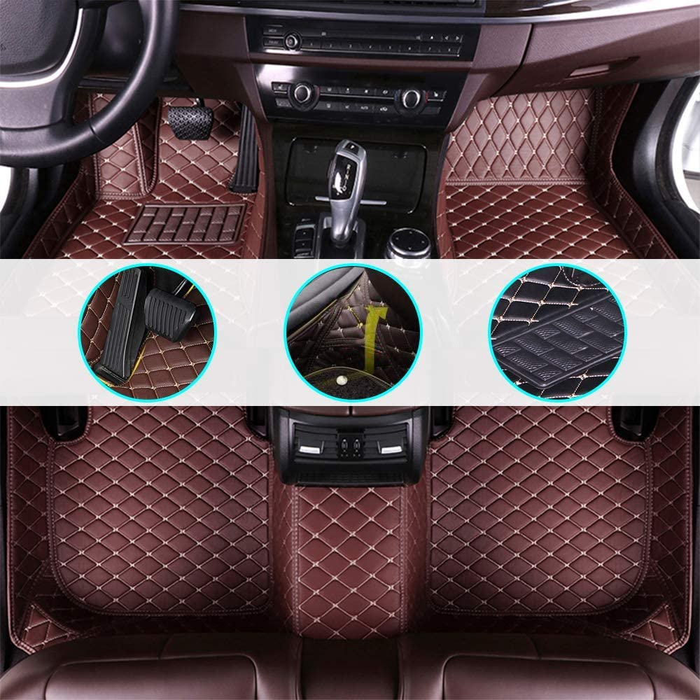 changlaiwang Car Floor Mat for Nissan Rogue Sport 2017-2019 All-Weather/Anti-Slip/Dust-Proof/Anti-Snow/Full Protection/Leather(Can be Customized for 99% of Cars) Coffee Full Set
