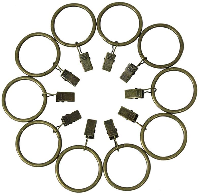 20 Pack Metal Curtain Rings with Clips, Rustproof Decorative Drapery Curtain Clip Rings (1.26 Inch Interior Diameter, Bronze