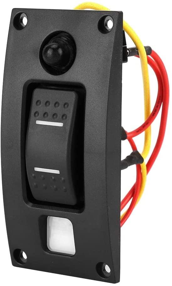 Akozon Boat Switch Panel ON-OFF-ON 12/24V 1 Gang Curved LED Rocker Bilge Pump Switch Panel For Boat Marine RV