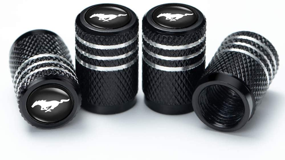 PATWAY 4 Pcs Metal Car Wheel Tire Valve Stem Caps for Ford Mustang Car Model SeriesLogo Styling Decoration Accessories.