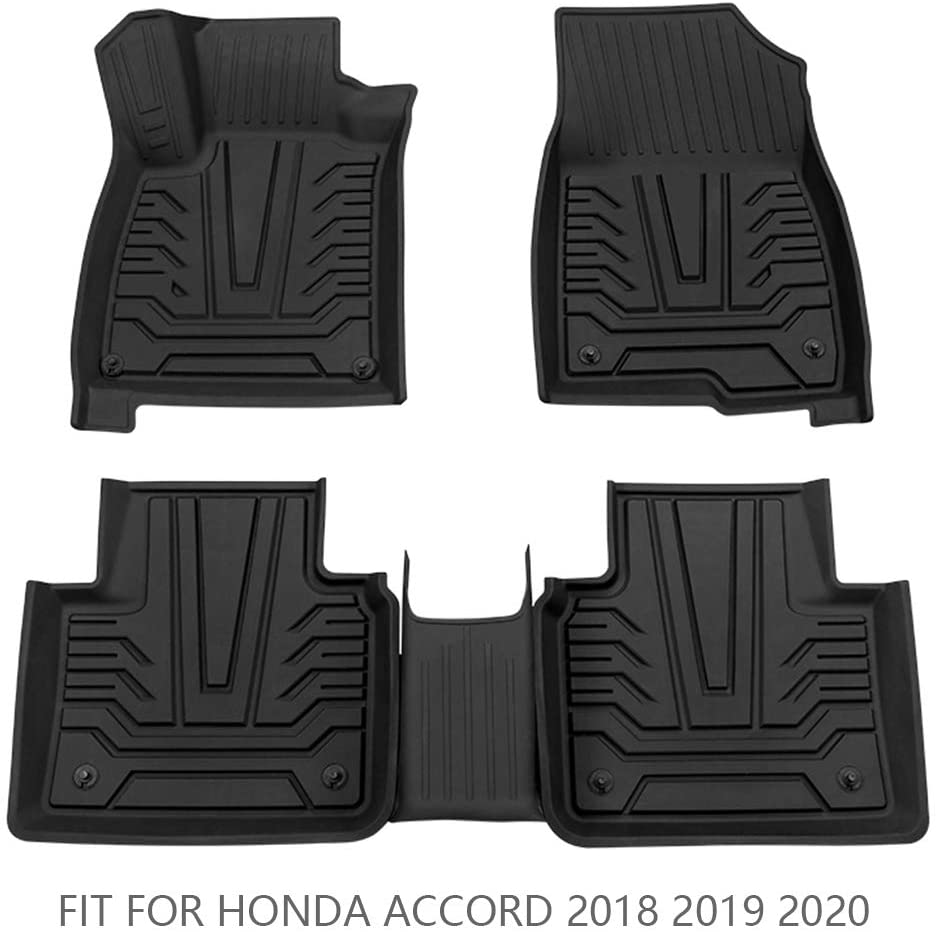 Cqlights Accord Floor Mats Custom Fit Accord Carpet Liner Set 2 Rows for 2018 2019 2020 Accord Protect Durable Odorless Black - All Models