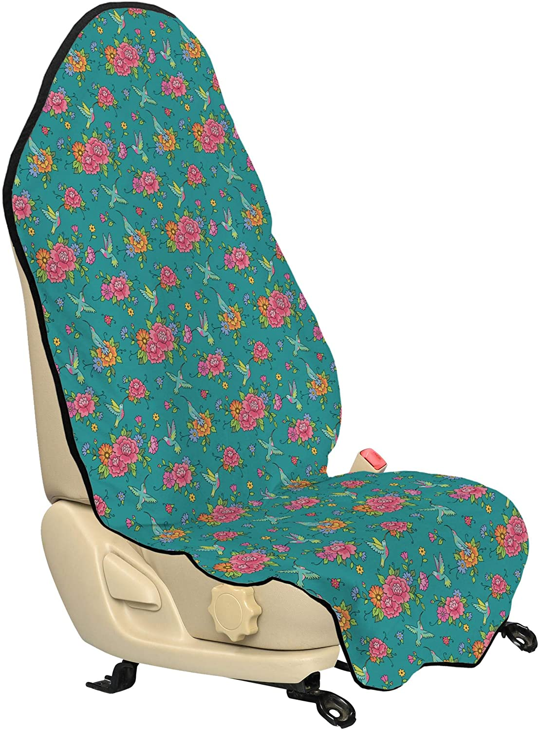Lunarable Hummingbirds Car Seat Hoodie, Nature Wildlife Inspired Pattern with Colorful Spring Wildflowers and Birds, Car Seat Cover Protector Non Slip Backing Universal Fit, 30