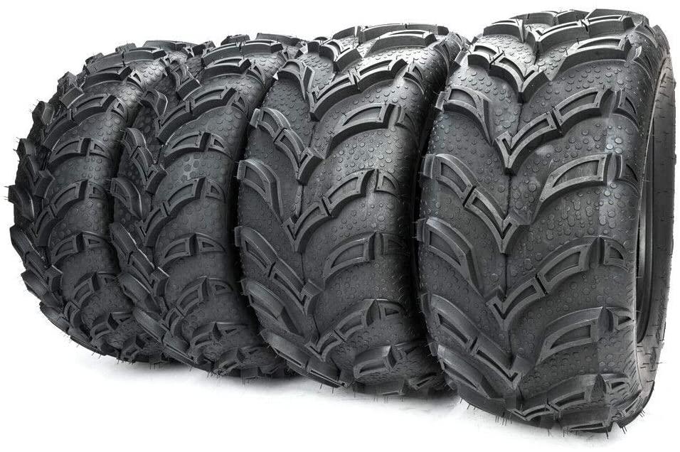 SUNROAD Set of 4 All Terrain ATV UTV Tires 25x8-12 Front & 25x10-12 Rear 6PR Mud