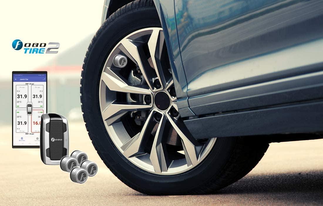 FOBO Tire 2 Tire Pressure Monitor System for Car Silver