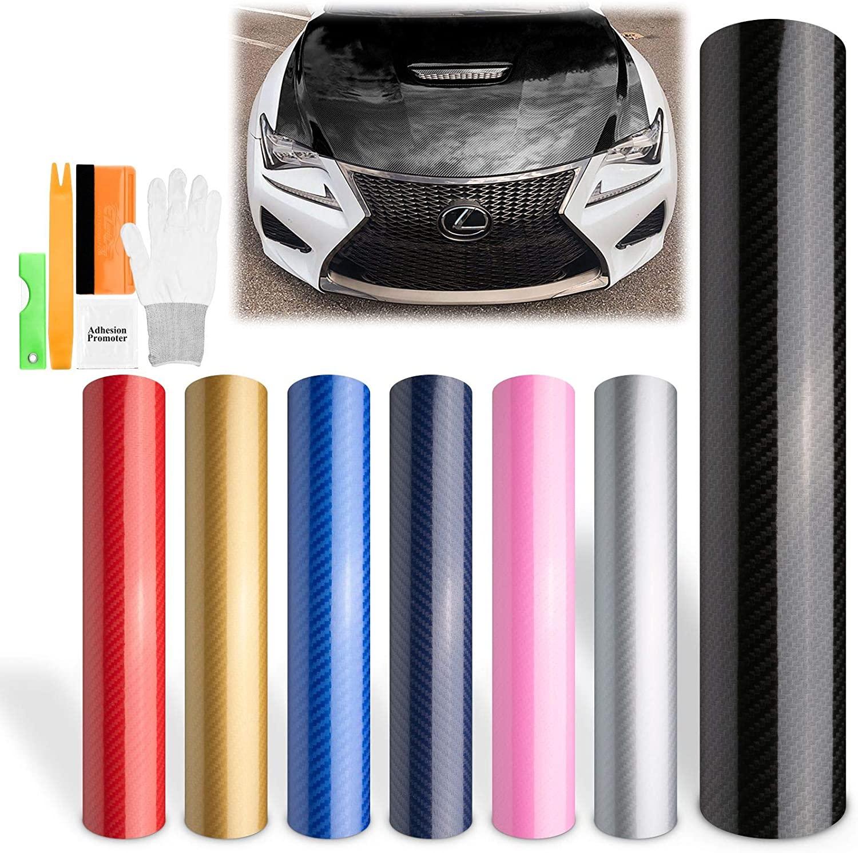 EZAUTOWRAP Free Tool Kit Black 5D Carbon Fiber High Gloss Car Vinyl Wrap Sticker Decal Film Sheet Bubble Free Air Release Technology - 60