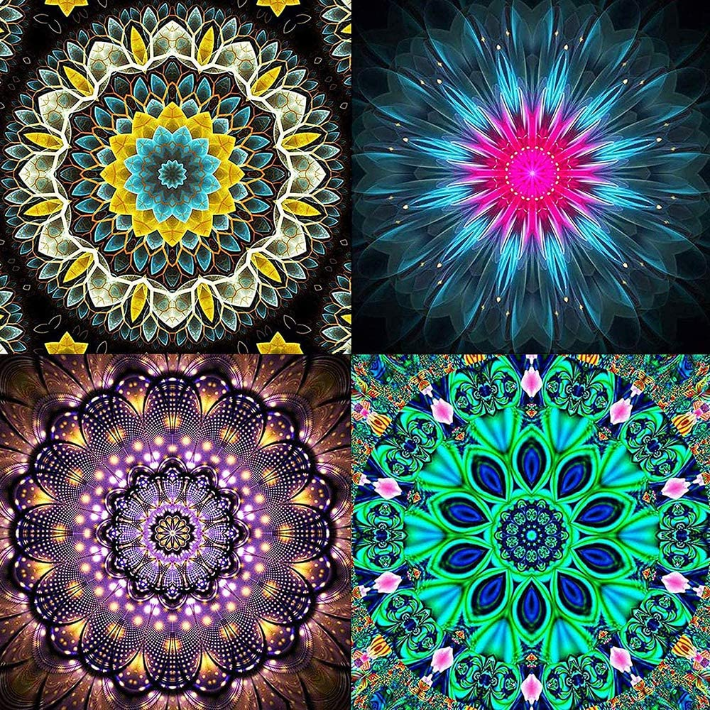 DIY Diamond Painting Kit Full Drill Dimond Paintings for Adults Perfect for Relaxation and Living Room Home Wall Decor 12x12inch 4 Pack (Mandala)