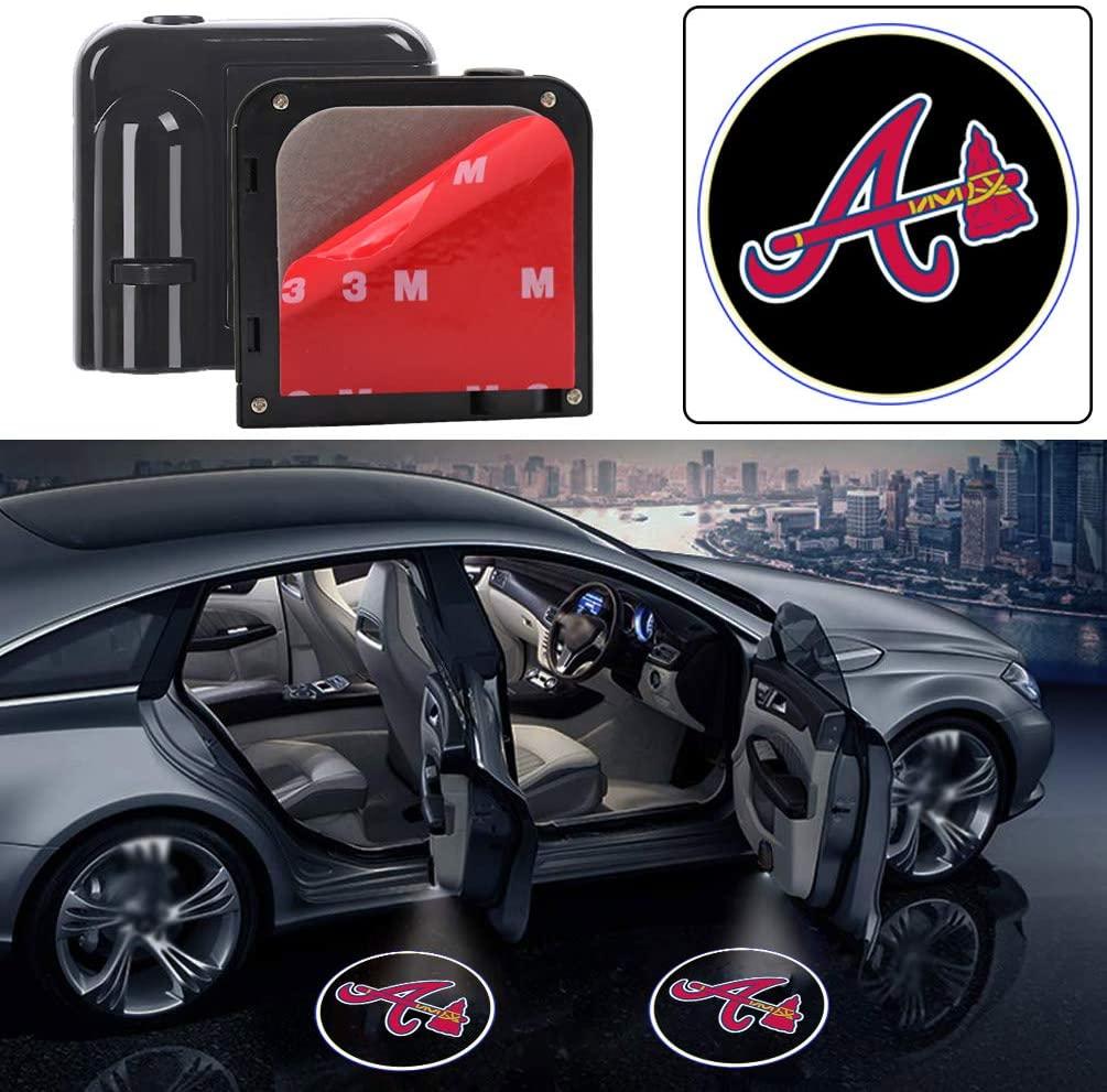 2pcs For Atlanta Braves Car Door Step Logo Projector Light Baseball Team Logo LED Courtesy Welcome Shadow Ghost Light