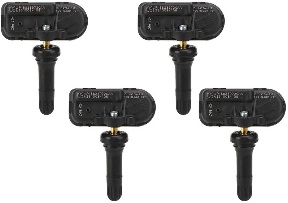 Tire Pressure Monitoring Auto Accessory,4Pcs Car Tire Pressure Monitor Sensor 434MHz 68239720AC Fit for Jeep Cherokee/Ram 1500 2500 3500