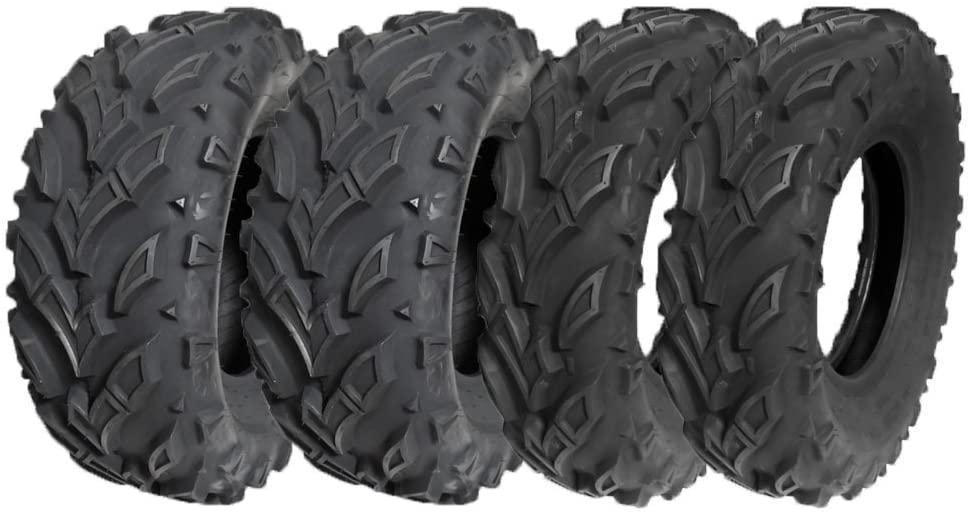 MMG Set of 4 All Terrain Reinforced Tubeless Tire – (2) Front 25x8-12 + (2) Rear 25x10-12 ATV UTV Go Kart Buggy