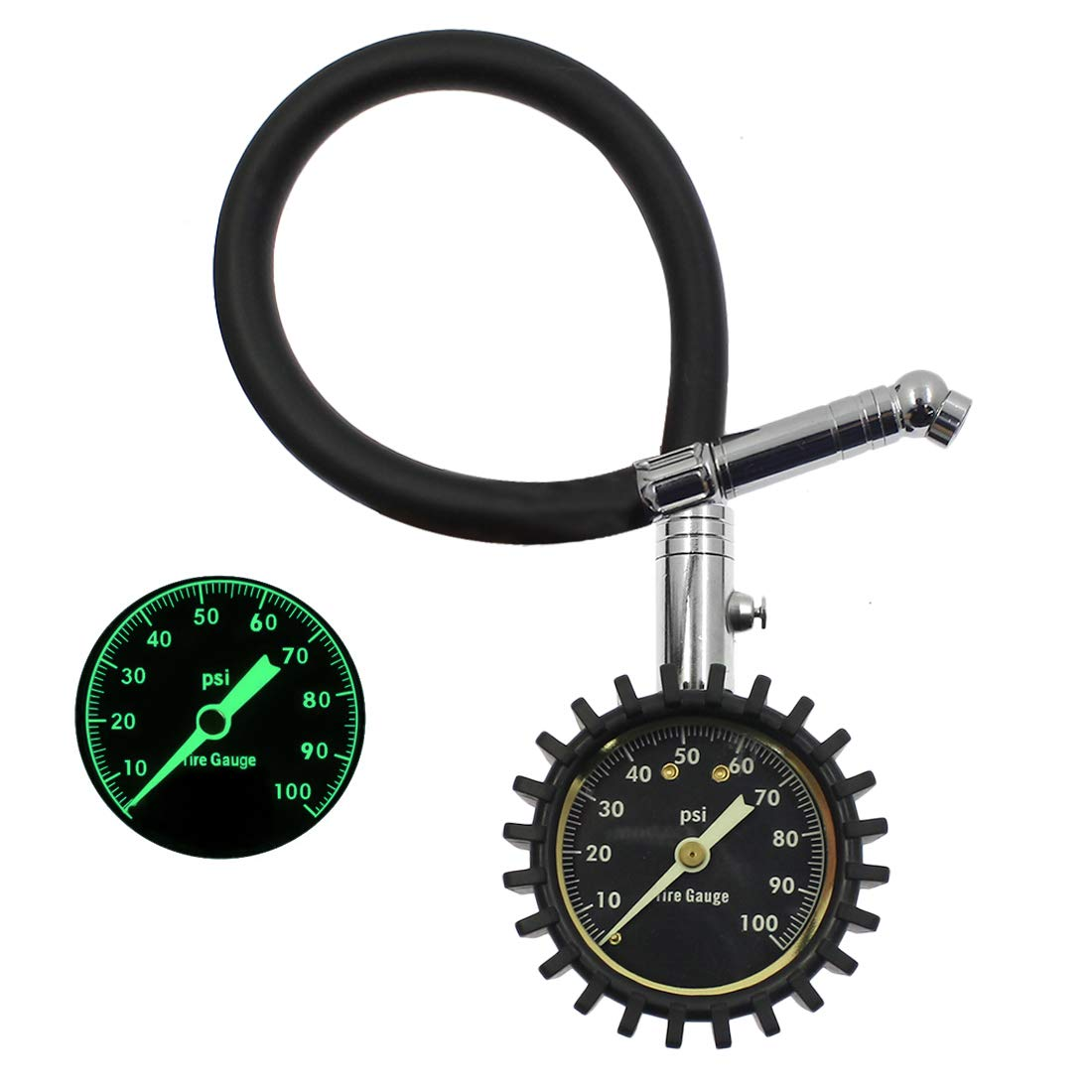 BokWin Tire Pressure Gauge (0-100 PSI), Certified ANSI B40.1 Accurate with 2