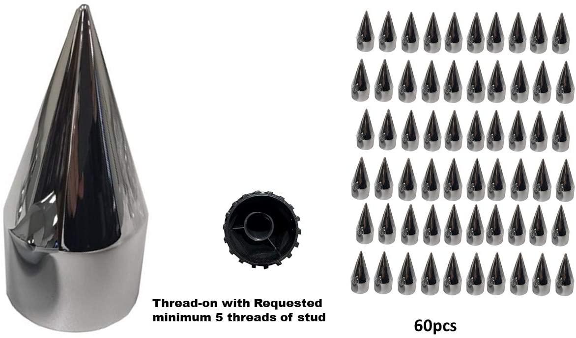 A Set of 60pcs Spike Chrome Lug Nut Thread-on Covers 4-3/4 inch for M22x1.5 Stud