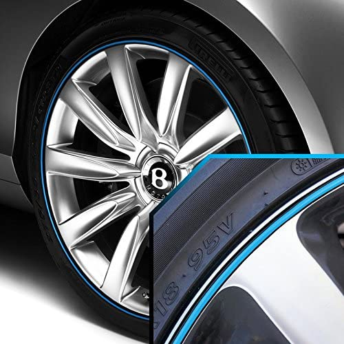 Upgrade Your Auto Wheel Bands Sky Blue in Black Pinstripe Edge Trim for Bentley Azure 13-22