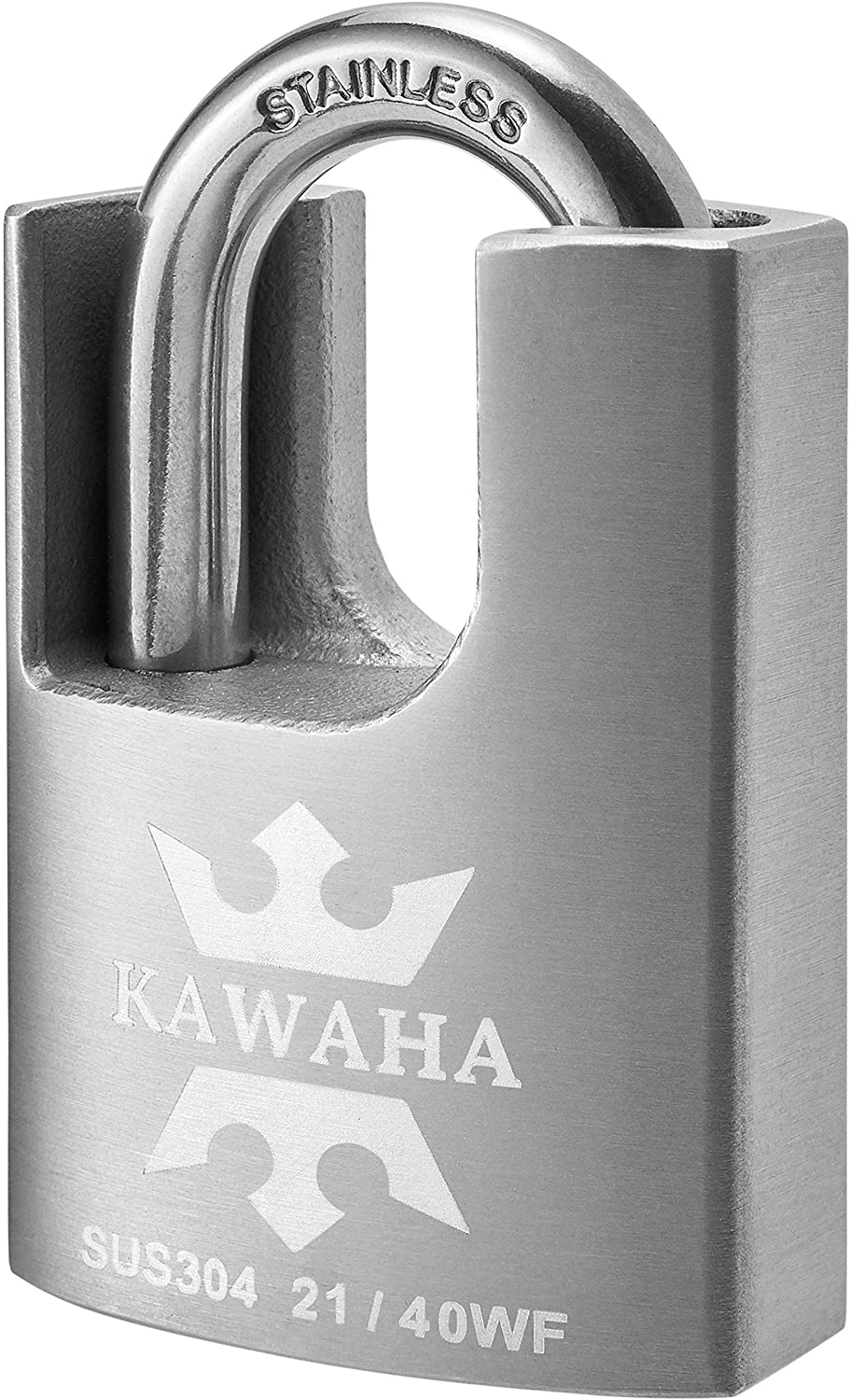 KAWAHA 1-9/16 Inch Stainless Steel Shrouded High Security Padlock with Key for Both Indoor and Outdoor use (SUS304 Stainless Steel Body & Shackle, Anti-Rust, Heavy Duty Padlock)