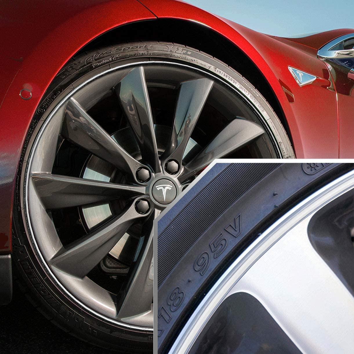 Upgrade Your Auto Wheel Bands White in Silver Pinstripe Rim Edge Trim for Tesla (Full Kit)