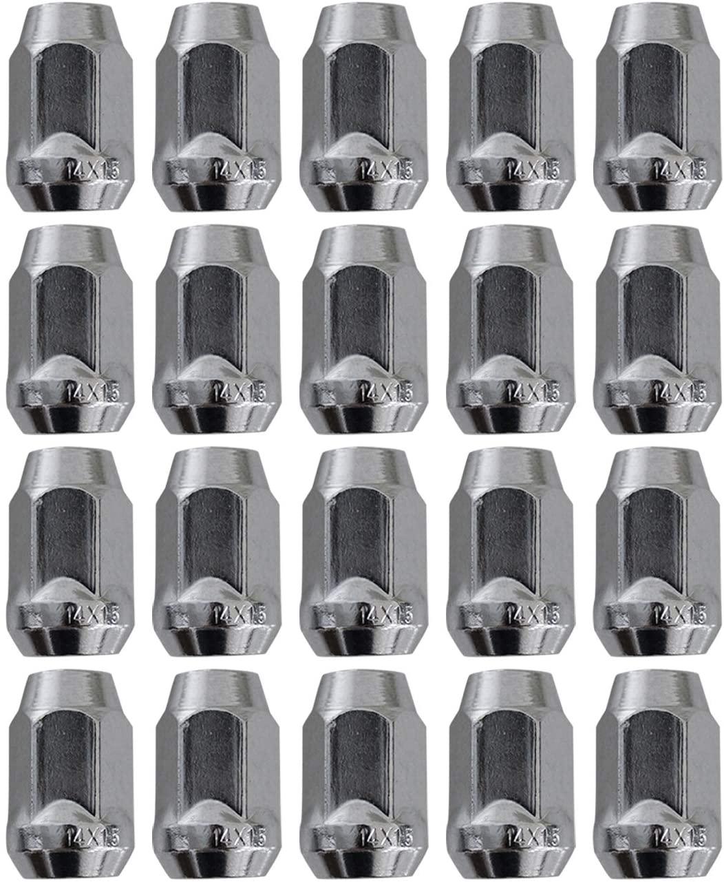 Beneges 20 Pcs M14x1.50 Wheel Lug Nuts 13/16 (21mm) Hex Chrome Bulge Acorn Lug Nuts