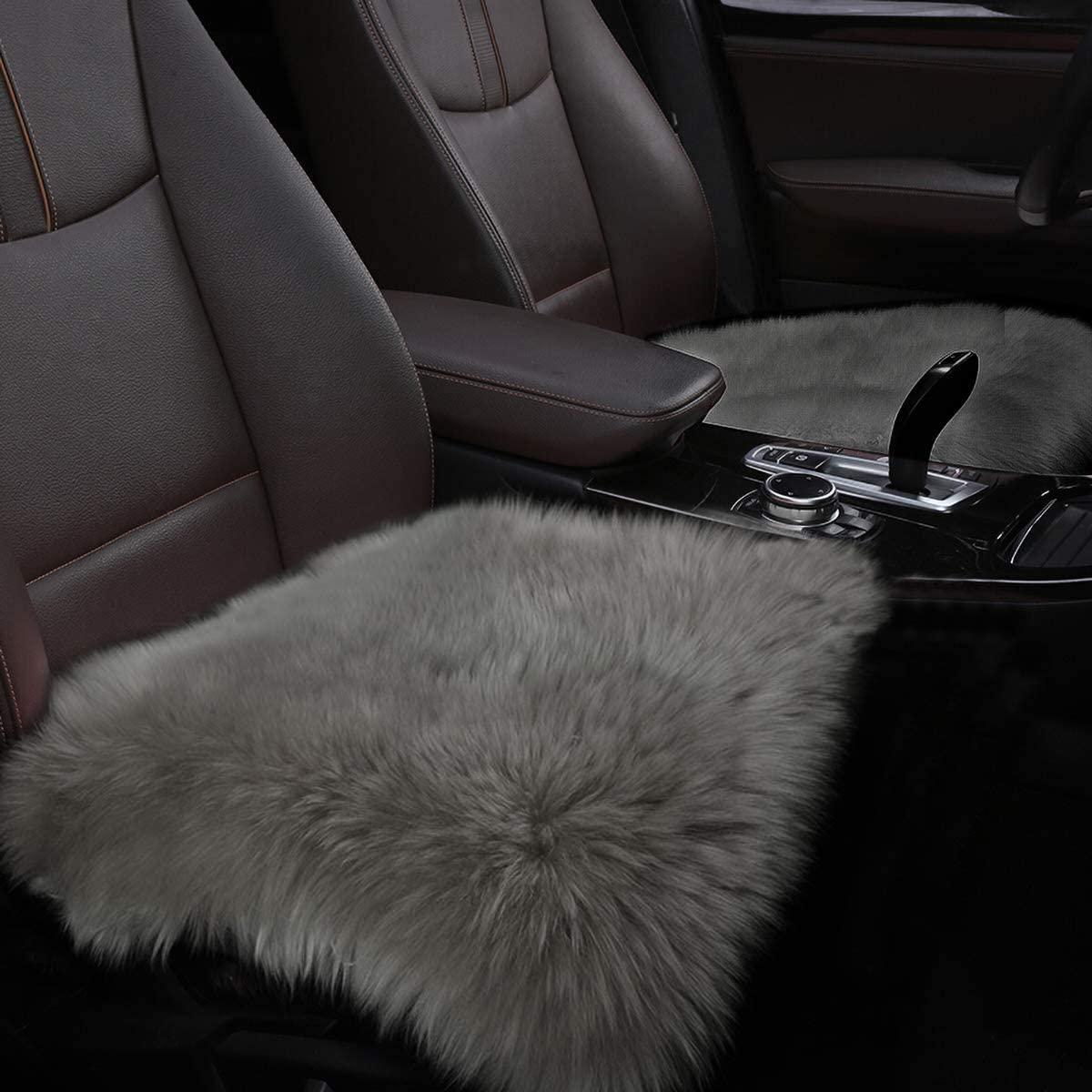 YJ.GWL Soft High Pile Grey Faux Sheepskin Fur Chair Sofa Cover (20''x20''), Square Area Rugs Seat Car Cushion Throw