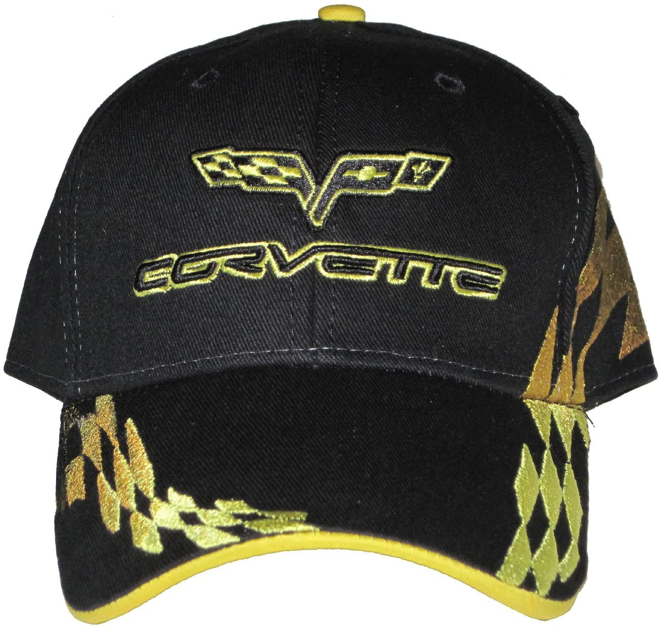 Greg's Automotive Corvette C6 Yellow Checkered Flag Logo Hat Cap Compatible with Chevrolet Chevy - Bundle with Driving Style Decal
