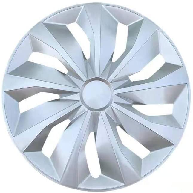 MHUI Car Wheel Trims, 13-inch 14-inch 15-inch Car Iron Rim Wheel Decoration, Suitable for Car Wheel Cover Car Modification Parts (Silver),15 inches
