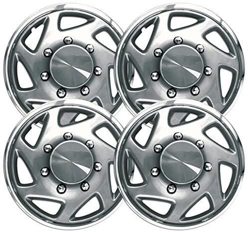 16 inch Hubcaps (Silver w/Chrome Edge) Set of 4 for SuperDuty 1995-2004