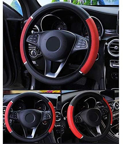 zqxsales Unisex's Leather Car Steering Wheel Cover Protector, Breathable Steering Wheel, Anti-Slip, 5 Colors, Soft, for 37-38cm Diameter