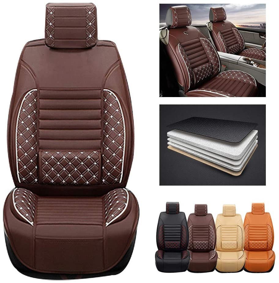 ytbmhhuoupx for Dodge Dart 5-Seats Car Seat Covers PU Leather Waterproof Seats Cushion fit All Season - Front Row Standard Edition Brown