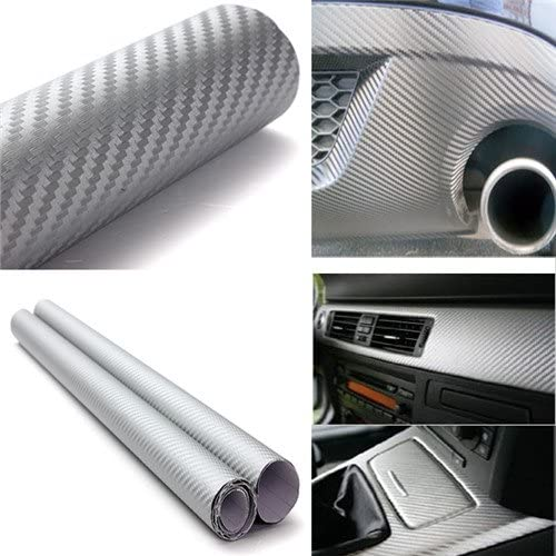 DIYAH 3D Silver Carbon Fiber Film Twill Weave Vinyl Sheet Roll Wrap DIY Decals (120