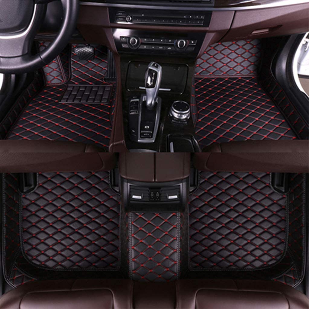 SLONG for Audi A6 07-18 Wagon Car Floor Mats All Full Surrounded Cargo Liner All Weather Waterpoof Non-Slip Leather Heavy Duty Custom Fit Front Rear Mat Left Drive Black and Red
