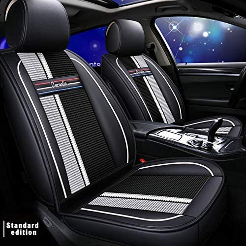 Car Seat Cover 5 Seat,for BMW X3 E83 2005-2010 2.0i 2.5i 3.0i 18d 20d 25d 30d 25i 30i Car Seat Protection,Classic Soft Waterproof Full Set PU Leather Car Front/Rear Seat Pads White