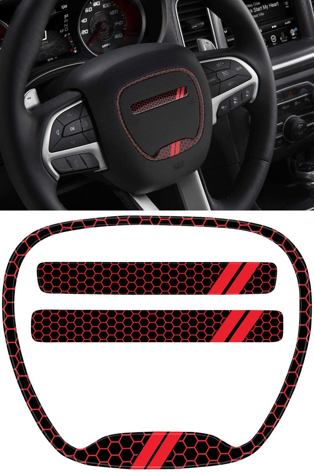GRIDREADY Steering Wheel Emblem Kit Compatible with 2015-2020 Dodge Charger | 3D Domed Badge Overlay Decal Trim Cover Sticker Set | Charger Interior Accessories (Red)