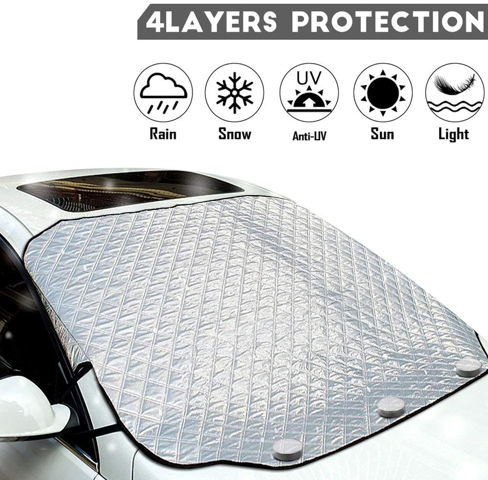MOVINPE Car Windshield Snow Cover Magnetic Windscreen Cover Windproof Magnetic Edges Waterproof Oversized for SUV Truck (Large for Standard Auto)