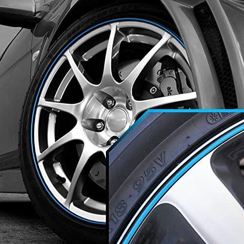 Upgrade Your Auto Wheel Bands Sky Blue in Black Pinstripe Trim for Subaru XV Crosstrek 13-22