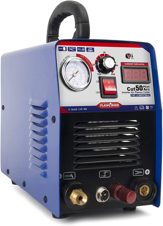 PLASMARGON Plasma Cutter CUT50P 50A Non-Touch Pilot Arc Plasma Cutting Machine Dual Voltage 110V/220V Portable Welding Equipment 1/2'' Clean Cut (220v)